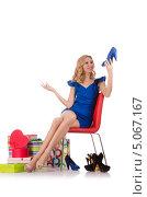 Купить «Модница любуется своими покупками», фото № 5067167, снято 12 сентября 2012 г. (c) Elnur / Фотобанк Лори
