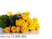 Купить «Букет желтых роз на белом фоне», фото № 5068459, снято 21 сентября 2013 г. (c) Peredniankina / Фотобанк Лори