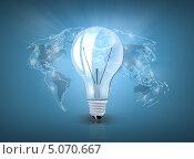 Купить «Лампочка на фоне карты мира», фото № 5070667, снято 24 июля 2019 г. (c) Syda Productions / Фотобанк Лори