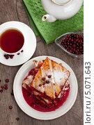 Пирог со свежей брусникой. Стоковое фото, фотограф Владимир Мельников / Фотобанк Лори
