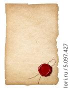 Сургучная печать на старой бумаге. Стоковое фото, фотограф Андрей Кузьмин / Фотобанк Лори