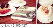 Купить «Книга, кофе и пирожное на столе», фото № 5105427, снято 16 августа 2018 г. (c) Светлана Мамонтова / Фотобанк Лори