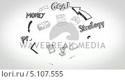 Купить «Black white animation of cycle business plan and need of having contacts», видеоролик № 5107555, снято 27 июня 2019 г. (c) Wavebreak Media / Фотобанк Лори