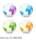Купить «Набор иконок глобусов», иллюстрация № 5109555 (c) Евгения Малахова / Фотобанк Лори