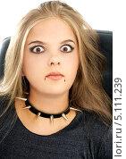 Купить «Удивленная девушка в образе вампира с каплями крови у губ», фото № 5111239, снято 27 июля 2006 г. (c) Syda Productions / Фотобанк Лори