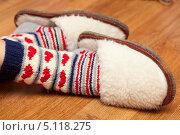 Купить «Шерстяные носки и тапки на женских ногах», фото № 5118275, снято 3 января 2013 г. (c) Швайгерт Екатерина / Фотобанк Лори