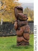 Купить «Деревянная резная скульптура на мифологические темы аборигенов. Быстринский этнографический музей. Камчатка», фото № 5118671, снято 18 сентября 2013 г. (c) А. А. Пирагис / Фотобанк Лори
