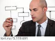 Купить «Менеджер рисует алгоритм на стекле», фото № 5119691, снято 24 января 2011 г. (c) Phovoir Images / Фотобанк Лори