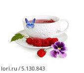 Чашка с ароматным чаем и бабочка. Стоковое фото, фотограф Лариса К / Фотобанк Лори