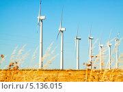 Купить «Ветрогенераторы в ряд на холме», фото № 5136015, снято 4 июля 2013 г. (c) Яков Филимонов / Фотобанк Лори