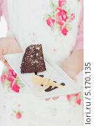 Купить «Изысканный шоколадный десерт на тарелке», фото № 5170135, снято 2 августа 2012 г. (c) Wavebreak Media / Фотобанк Лори
