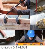 Купить «Коллаж из изображений строительных работ», фото № 5174031, снято 18 ноября 2017 г. (c) Phovoir Images / Фотобанк Лори