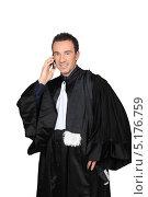 Купить «Человек в образе преподавателя звонит по телефону», фото № 5176759, снято 13 июня 2010 г. (c) Phovoir Images / Фотобанк Лори