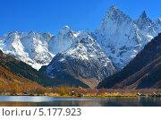 Купить «Осенний пейзаж в горах Кавказа», фото № 5177923, снято 9 октября 2013 г. (c) александр жарников / Фотобанк Лори
