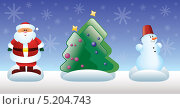 Купить «Новогодние игрушки. Санта-Клаус, ёлка и Снеговик», иллюстрация № 5204743 (c) Савицкая Татьяна / Фотобанк Лори