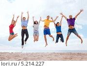 Купить «Компания молодых друзей отдыхает на пляже солнечным днем», фото № 5214227, снято 31 августа 2013 г. (c) Syda Productions / Фотобанк Лори