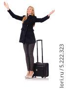 Молодая бизнес-леди путешествует с чемоданом. Стоковое фото, фотограф Elnur / Фотобанк Лори
