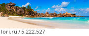 Купить «Панорамный вид берега моря. Сейшельские острова, остров Ла Диг», фото № 5222527, снято 22 ноября 2019 г. (c) Mikhail Starodubov / Фотобанк Лори