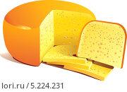 Нарезанный на куски твердый сыр лежит на столе. Стоковая иллюстрация, иллюстратор Yana Geruk / Фотобанк Лори