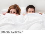 Купить «молодые мужчина и женщина выглядывают из-под одеяла», фото № 5240527, снято 21 апреля 2013 г. (c) Андрей Попов / Фотобанк Лори