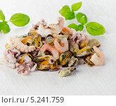 Купить «Сырые смешанные морепродукты», фото № 5241759, снято 4 ноября 2013 г. (c) Tatjana Baibakova / Фотобанк Лори