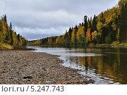 Купить «Река Вишера осенью», фото № 5247743, снято 20 сентября 2009 г. (c) Денис Нечаев / Фотобанк Лори