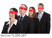 Купить «мужчины и женщины в деловых костюмах с красными повязками на глазах», фото № 5250267, снято 12 мая 2013 г. (c) Андрей Попов / Фотобанк Лори