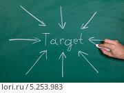 """Купить «стрелки, указывающие на надпись """"target""""», фото № 5253983, снято 9 мая 2013 г. (c) Андрей Попов / Фотобанк Лори"""