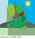 Летний пейзаж. Стоковая иллюстрация, иллюстратор Марина Дычек / Фотобанк Лори