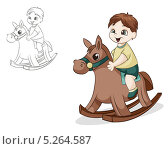 Мальчик на игрушечной лошадке. Стоковая иллюстрация, иллюстратор Вероника Ковалева / Фотобанк Лори