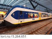 Купить «Нидерланды. Амстердам. Региональный поезд Sprinter у платформы вокзала Роттердама», эксклюзивное фото № 5264651, снято 7 октября 2013 г. (c) Александр Тарасенков / Фотобанк Лори