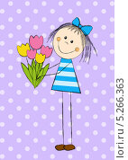 Купить «Девочка с букетом тюльпанов в руках», иллюстрация № 5266363 (c) Евгения Малахова / Фотобанк Лори