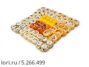 Купить «Различные японские суши на белом фоне», фото № 5266499, снято 28 сентября 2013 г. (c) Лямзин Дмитрий / Фотобанк Лори