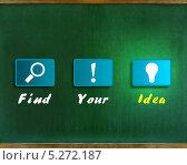 """Набор пиктограмм с надписью по-английски: """"Найти Вашу идею"""" Стоковая иллюстрация, иллюстратор Максим Мистюков / Фотобанк Лори"""