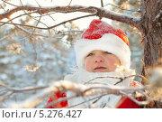 Портрет мальчика в костюме Санта Клауса в зимнем лесу. Стоковое фото, фотограф Римма Зайцева / Фотобанк Лори