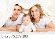 Купить «Счастливая семья в постели под одеялом», фото № 5279283, снято 5 ноября 2013 г. (c) Евгений Атаманенко / Фотобанк Лори