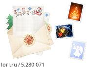 Купить «Письмо деду Морозу и марки на белом фоне», иллюстрация № 5280071 (c) Лукиянова Наталья / Фотобанк Лори