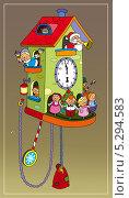 Новогодние часы с танцующими игрушками. Стоковая иллюстрация, иллюстратор Марина Рюмина / Фотобанк Лори