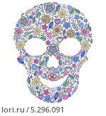 Векторная иллюстрация абстрактного цветочного черепа. Стоковая иллюстрация, иллюстратор kiyanochka / Фотобанк Лори