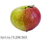 Яблоко зелено-красное в капельках росы с листочком, изолировано на белом. Стоковое фото, фотограф Игорь Мицкевич / Фотобанк Лори