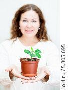 Купить «Красивая девушка с растением в горшочке на вытянутых руках. Фокус на растении», фото № 5305695, снято 17 ноября 2013 г. (c) Кекяляйнен Андрей / Фотобанк Лори