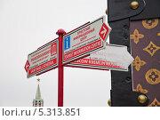 Купить «Указатель на Красной площади», эксклюзивное фото № 5313851, снято 27 ноября 2013 г. (c) Алёшина Оксана / Фотобанк Лори