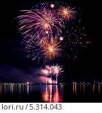 Купить «Праздничный фейерверк в ночном небе», фото № 5314043, снято 13 августа 2011 г. (c) ElenArt / Фотобанк Лори