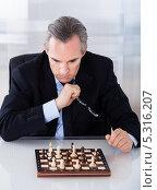 Купить «шахматист раздумывает над ходом», фото № 5316207, снято 21 июля 2013 г. (c) Андрей Попов / Фотобанк Лори