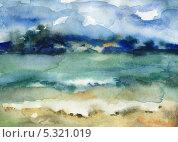 Пляж байкала. Стоковая иллюстрация, иллюстратор Гузель Гайсина / Фотобанк Лори