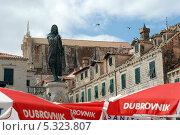Купить «Дубровник. Памятник поэту Ивану Гундуличу (1893) на рыночной площади.», эксклюзивное фото № 5323807, снято 20 сентября 2012 г. (c) Svet / Фотобанк Лори