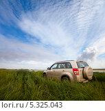 Купить «Автомобиль Suzuki Grand Vitara в высокой траве», фото № 5325043, снято 10 августа 2012 г. (c) Владимир Мельников / Фотобанк Лори