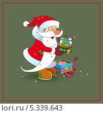 Санта Клаус радуется подарку. Стоковая иллюстрация, иллюстратор Марина Рюмина / Фотобанк Лори