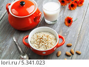Купить «Овсяная каша с миндалем на столе», фото № 5341023, снято 5 декабря 2013 г. (c) Надежда Мишкова / Фотобанк Лори
