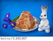 Творожная боярская пасха и фигурка пасхального кролика. Стоковое фото, фотограф Олеся Сарычева / Фотобанк Лори